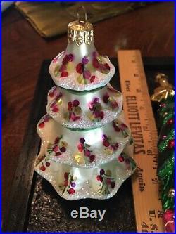 Lot of 5 Christopher Radko 1996 Large Glass Christmas Ornaments