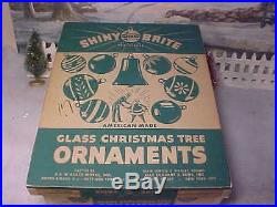 Lovely Antique Vtg Glass Xmas Ornaments Mica Frosted Glitter Shiny Brite Poland