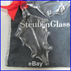 Lovely Vintage Steuben Glass Holly Leaves Crystal Christmas Ornament Set LOOK