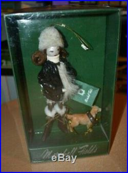 MARSHALL FIELD'S Lady Shopper with Dog Glass Christmas Ornament NEW IN BOX