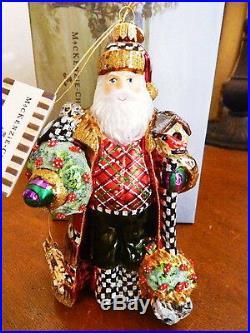 Mackenzie Childs NATURE'S FRIEND SANTA Christmas Ornament RETIRED NEW / BOX