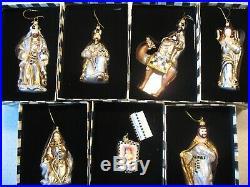 Mackenzie Childs Set of 7 Nativity Glass Christmas Ornaments Mary Joseph Kings