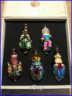 NEW KOMOZJA MOSTOWSKI FAMILY POLISH Set glass CHRISTMAS ORNAMENTs Russia Palekh