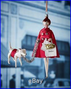 NIB De Carlini Neiman Marcus Shoppe with a Dog Christmas Ornament