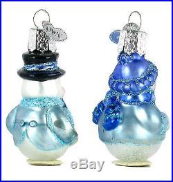 Old World Christmas Mini Frosty Snowman Glass Ornament Set of 2