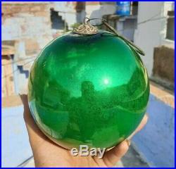 Original Vintage Old Antique Rare Big Round Glass Christmas Kugel / Ornament