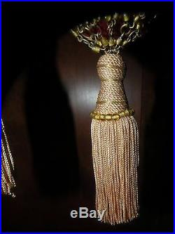 PR ANTIQUE GLASS METAL BEADED & SILK TASSEL CURTAIN TIEBACKS Christmas ornament
