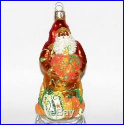 Patricia Breen Orange Red Pumpkin Harvest Santa Glittered Glass Xmas Ornament