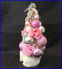 Pink Jeweled Poodle Bottle Brush XMAS Tree VTG Mercury Glass Bead Ornaments