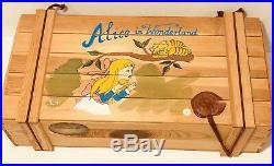 Polonaise Kurt Adler Alice in Wonderland Wood Box Glass Christmas Ornaments Set