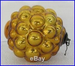RARE Antique German Gold Mercury Glass Berry Form Kugel Christmas Tree Ornament