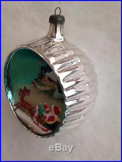 RARE HTF ITALIAN DIORAMA MERCURY GLASS JUMBO Xmas ORNAMENT SANTA SLED DEER HOUSE