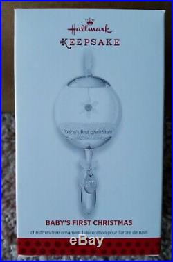 RARE Hallmark Baby's First Christmas Ornament Glass Metal Rattle 2013 1st Silver