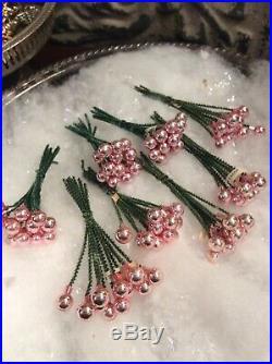 RARE Lot 48 DOZEN Vintage Christmas PINK MERCURY GLASS Garland Bead Picks Japan