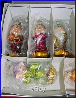 Radko Disney LE Petite Snow White Seven Dwarfs Glass Christmas Ornament Set-Box