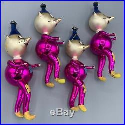 Set 4 Vtg De Carlini Hobo Clown Mouse Christmas Ornaments Italian Mercury Glass