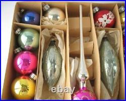 Set BALL Tree TOP TOPPER Vintage German GDR XMAS Decor CHRISTMAS Glass Ornament
