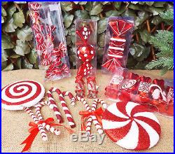 Set Red & White Glitter Candy Cane Swirl Spotty Sweet Christmas Tree Decorations