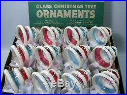 Shiny Brite Box 12 Vtg UNSILVERED Bell/Tree Shape withMICA Xmas Ornaments WWII Era