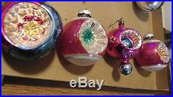 Shiny Brite Mica Double Flower Indent Mica Vtg. Xmas Ornaments near excellent
