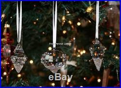 Swarovski Christmas Ornaments (set Of 3) 5223618 Mint Boxed Retired Rare