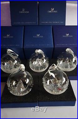 Swarovski Lot of 5 x Christmas Ball Ornament, 2013 2014 2015 2016 2017