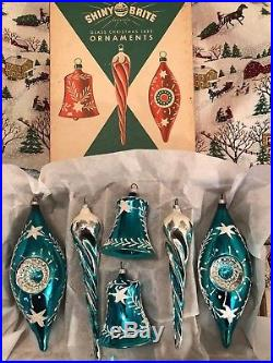 Teal SHINY BRITE Vintage Glass Xmas Ornaments INDENTS ICICLES BELLS Mica Germany