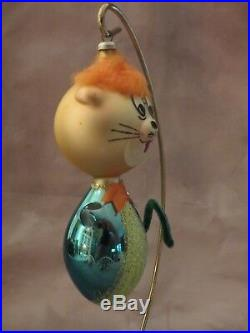 VINTAGE CAT/LION MERCURY BLOWN GLASS ITALIAN CHRISTMAS ORNAMENT with GREAT COLOR