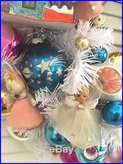 VINTAGE CHRISTMAS ORNAMENT WREATHAngels ElfJapan Shiny Brite MCM Mercury Glass