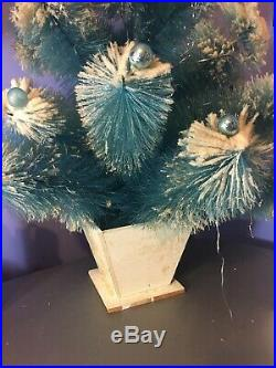 VTG Aqua BLUE Bottle Brush FLOCKED Snow XMAS Tree ORNAMENTS Mercury Glass Ball