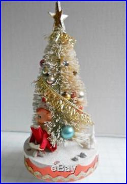 VTG Christmas Bottle Brush Tree Knee Hugger Elf Pixie Mercury Glass Ornaments