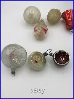 Vintage 16 Antique Glass Christmas tree ornaments Fragile 1930s decorations 1010