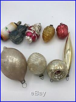 Vintage 17 Antique Glass Christmas tree ornaments 1920s Fragile Rare 1010