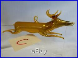 Vintage 1920's Bimini German Blown AMBER / GOLD Art Glass DEER Ornament