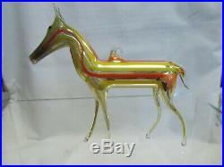 Vintage 1920's Bimini German Blown Art Glass Multi-Striped HORSE Ornament #1