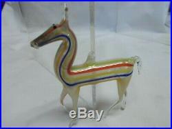 Vintage 1920's Bimini German Blown Art Glass Multi-Striped HORSE Ornament #2