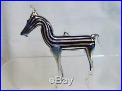 Vintage'20's Bimini German Blown Art Glass BLUE Striped HORSE Ornament #1