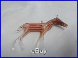 Vintage'20's Bimini German Blown Art Glass RED Striped HORSE Ornament #1