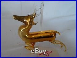 Vintage 20's Bimini German Blown GOLD / MERCURY Art Glass DEER Ornament