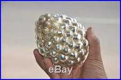 Vintage 6'' Silver Original Cluster Of Grapes Christmas Heavy Glass Kugel