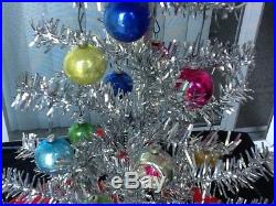 Vintage Aluminum 16 Table Top Christmas Tree Box Angel Topper Glass Ornaments