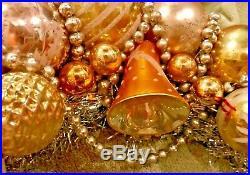 Vintage Antique Golden Angel Ornament Christmas Wreath Tinsel Glass Plastic