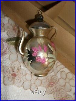 Vintage Antique Mercury Glass Teapot Christmas Ornaments Germany Set Lot of 11