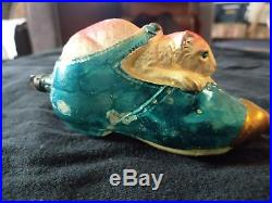 Vintage Blown Glass German Cat In Shoe Christmas Ornament Made In Germany