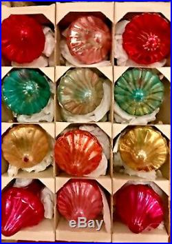 Vintage Box of 12 Colorful Spinning Tops Shiny Brite Glass Christmas Ornaments