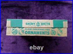 Vintage Boxed Shiny Brite Mercury Glass Grape Bumpy Christmas Ornaments Lot 12