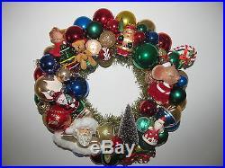 Vintage Christmas Ornament Wreath 16 Handmade Glitter UFO Stencil Bottle Brush