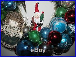 Vintage Christmas Ornament Wreath Shiny Brite 17 OOAK Handmade Red Blue Decor