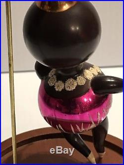 Vintage De Carlini Glass Christmas Ornament African Black Ballet Dancer RARE