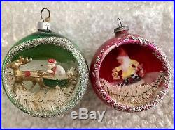 Vintage Diorama Glass Christmas Ornaments Made In China Scene